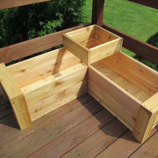 Gunderson L-Shaped Multi-level Cedar Planter Box by August Grove