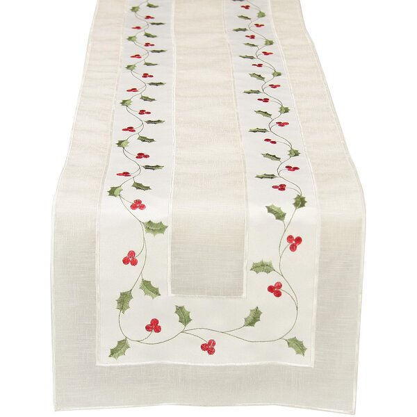 Classic Holly Embroidered Cutwork Holiday Table Runner by The Holiday Aisle