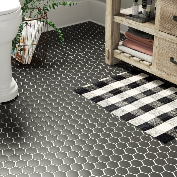 Bulah 10.5 x 11 Porcelain Mosaic Tile in Matte Black by Laurel Foundry Modern Farmhouse