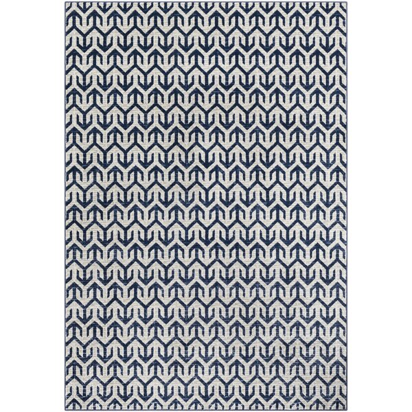 Hyacinth Modern Geometric Navy/Gray Area Rug by Wrought Studio