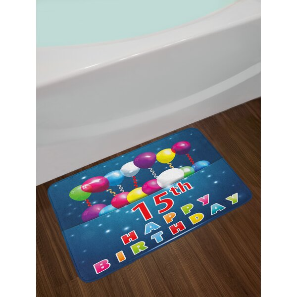 Festive 15th Birthday Bath Rug by East Urban Home