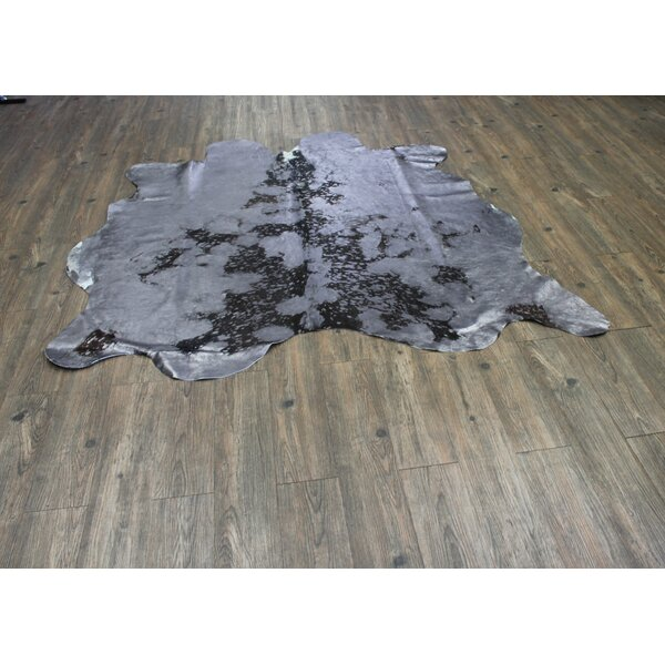 One-of-a-Kind Papke Hand-Woven Cowhide Gray Area Rug by Union Rustic