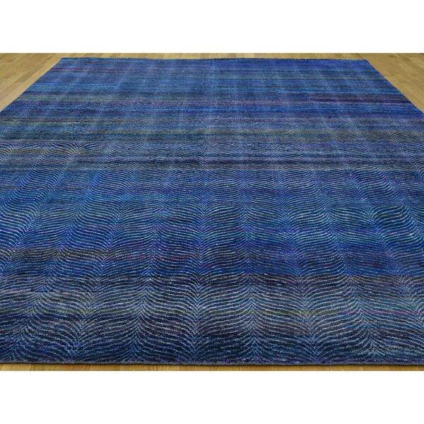 One-of-a-Kind Friedman Hand-Knotted 2010s Anatolian Blue 9' x 12'2 Silk Area Rug