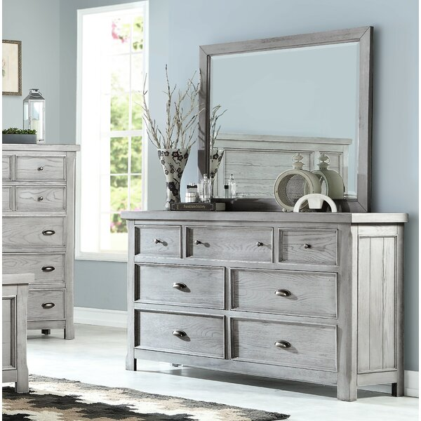Scheller 7 Drawer Double Dresser with Mirror by Breakwater Bay