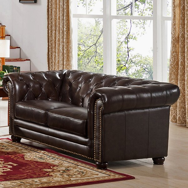 Get The Latest Brittany Top Grain Leather Chesterfield Loveseat by 17 Stories by 17 Stories