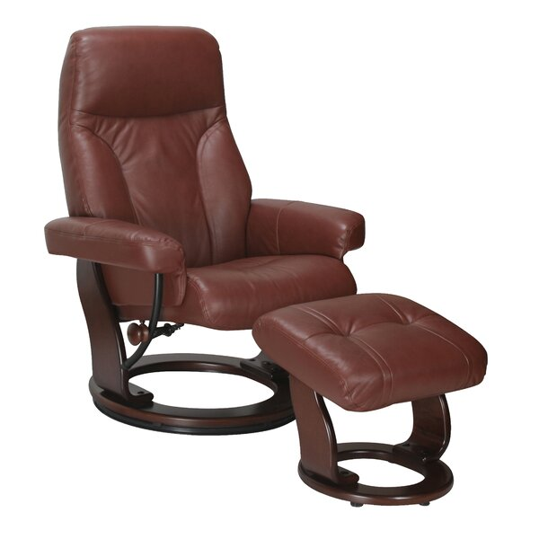 Rodolfo Leather Manual Swivel Recliner with Ottoman by Winston Porter