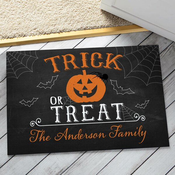Alongi Trick Or Treat Personalized Doormat by The Holiday Aisle