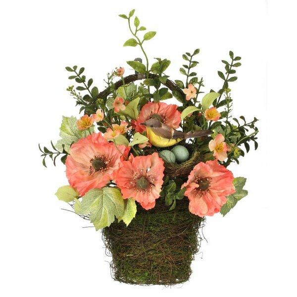 Poppy and Bird Floral Arrangement in Nest Wall Hanging Basket by Regency International