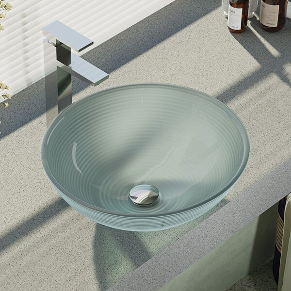 Sparkling Glass Circular Vessel Bathroom Sink with Faucet