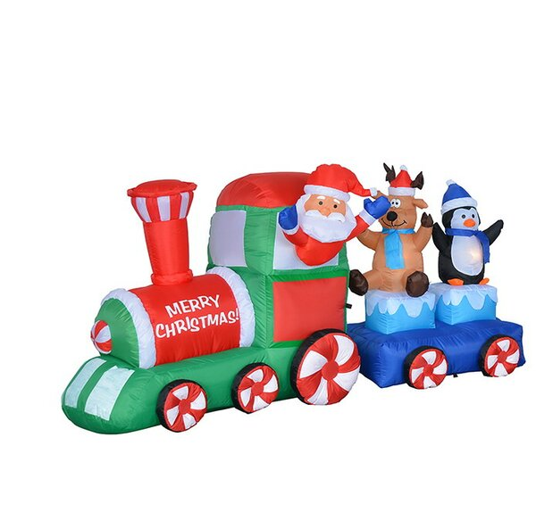 7 ft. Long Santa on Train Christmas Decoration by