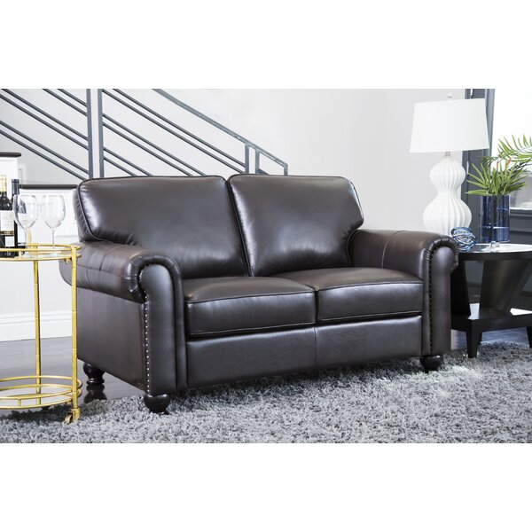 Bella Vista Leather Loveseat by Three Posts