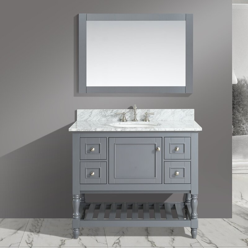Silvia 42 Bathroom Sink Vanity Set With Mirror Urban Furnishings