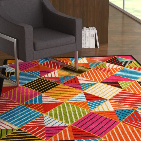 Quattrucci Blue/Orange Area Rug by Ebern Designs