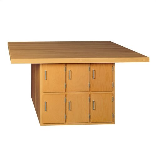 Four Station Wooden Workbench with 6 Lockers by Shain
