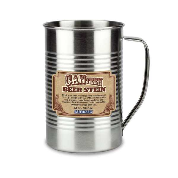 CANteen Beer Stein 64 oz. Stainless Steel Pint Glass (Set of 2) by Barbuzzo