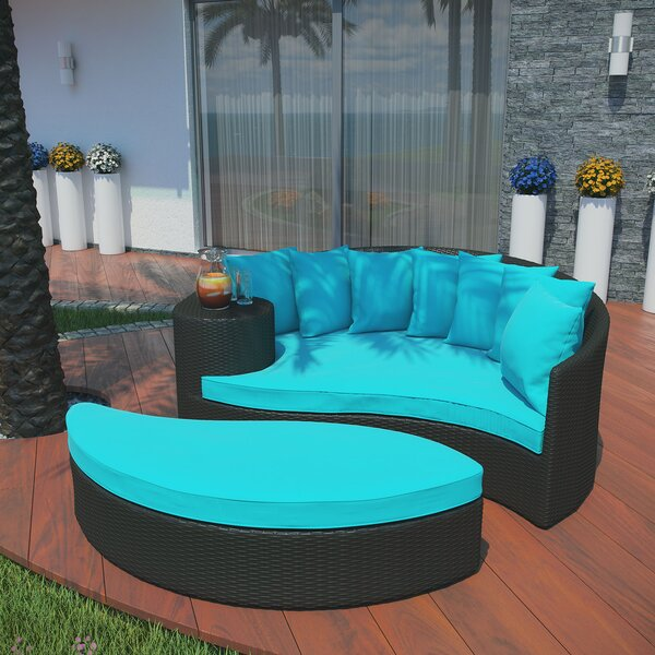 Greening Outdoor Daybed with Ottoman & Cushions by Brayden Studio