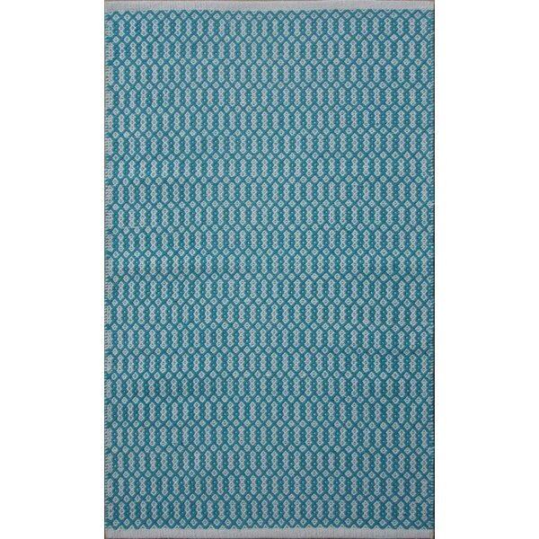 Parker Hand-Woven Blue/Gray Area Rug by Rosecliff Heights