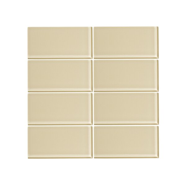 3 x 6 Glass Subway Tile in Sandstone (Set of 6) by Vicci Design