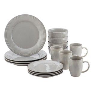 Cucina 16 Piece Dinnerware Set Service for 4  sc 1 st  Wayfair & Grey Dinnerware Sets Youu0027ll Love | Wayfair
