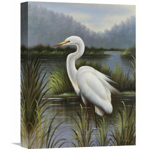 'Morning Egret' by Kilian Painting Print on Wrapped Canvas by Global Gallery