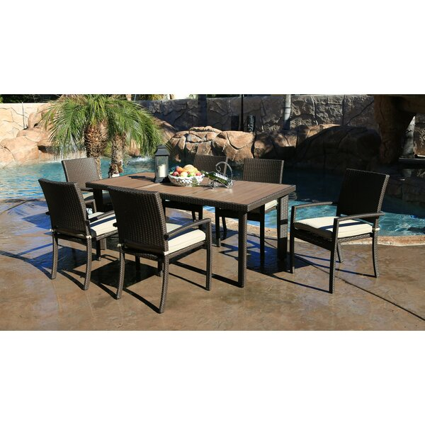 Heffington 7 Piece Wicker Dining Set with Cushion by Latitude Run