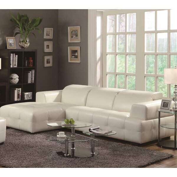 Portage Leather Left Hand Facing Sectional by Orren Ellis