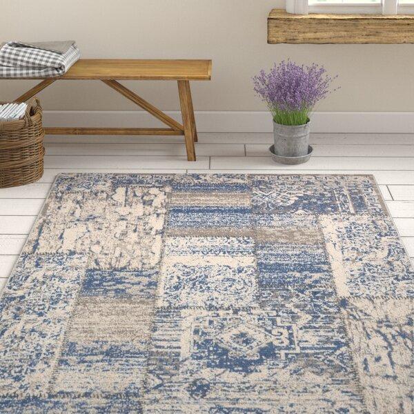 Kimes Denim Blue / Ivory Area Rug by Ophelia & Co.