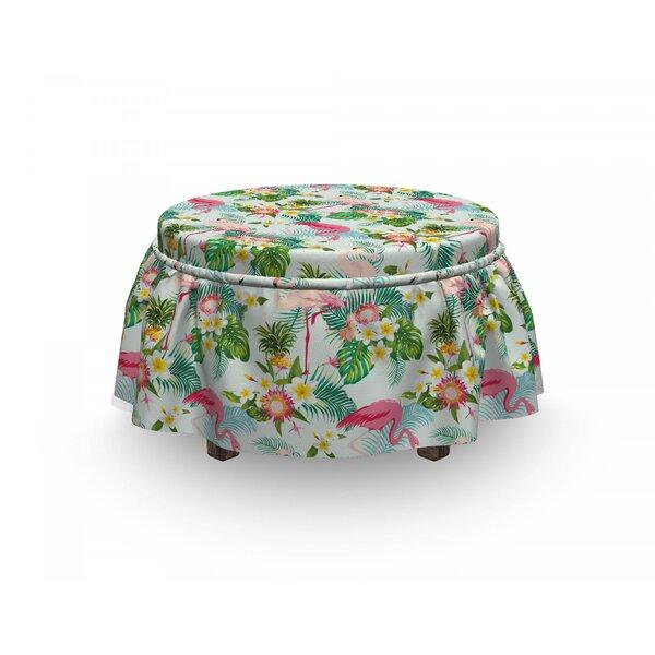 Flamingo Fresh Exotic Jungle 2 Piece Box Cushion Ottoman Slipcover Set By East Urban Home