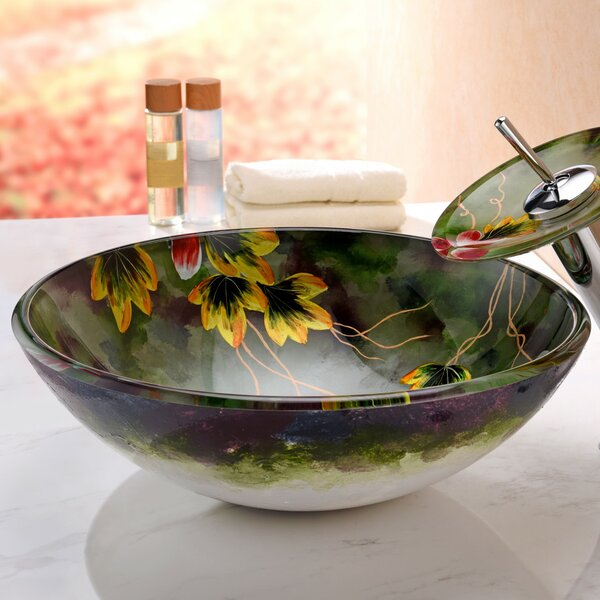 Impasto Glass Circular Vessel Bathroom Sink with Faucet by ANZZI
