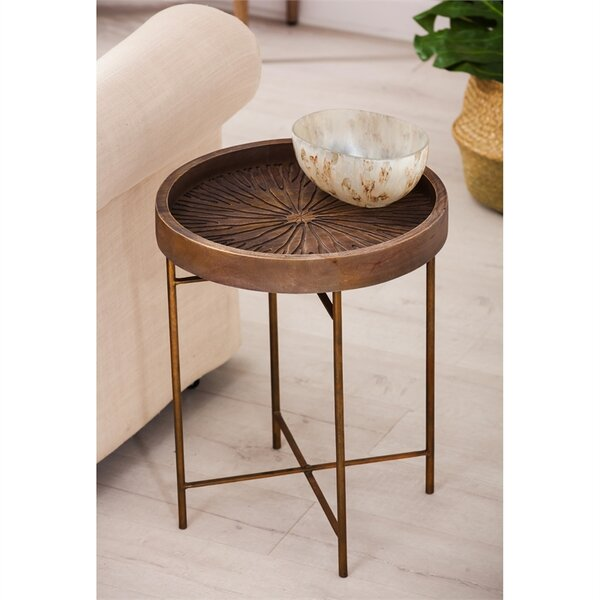 Maidenstone Wood Carved End Table by Bungalow Rose