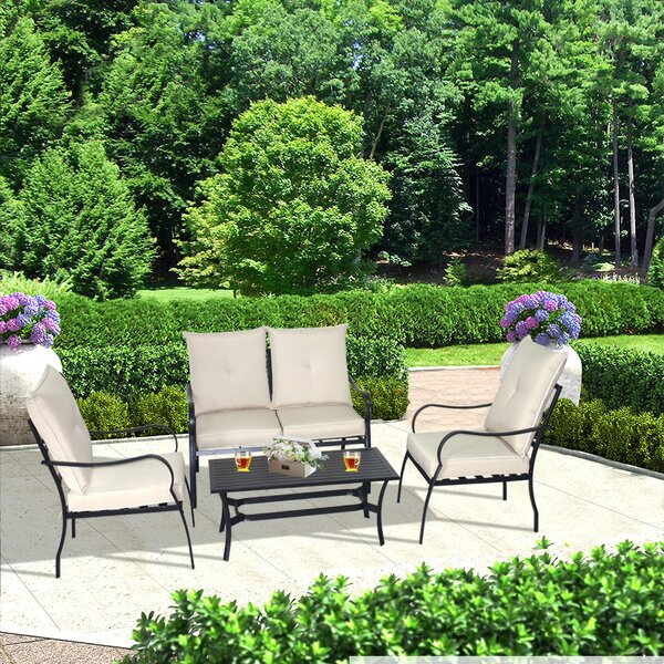 Lehmann 4 Piece Sofa Seating Group with Cushions by Charlton Home