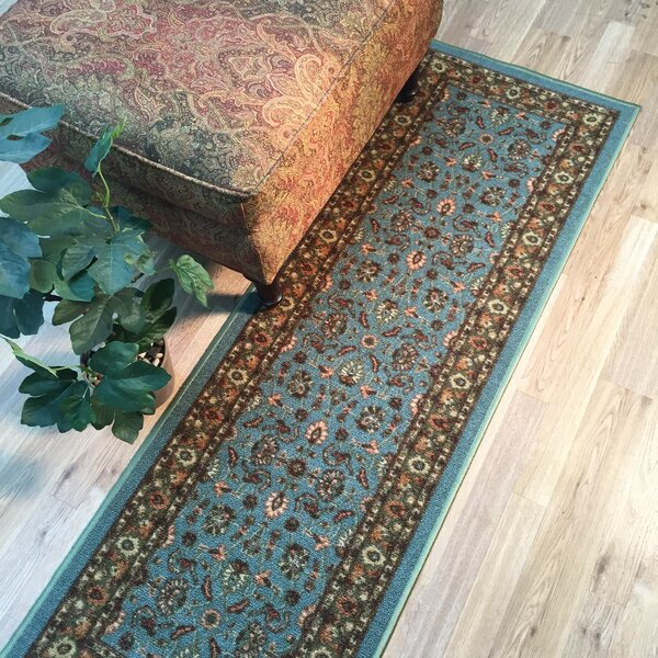 Harland Floral Teal Blue Doormat by Three Posts