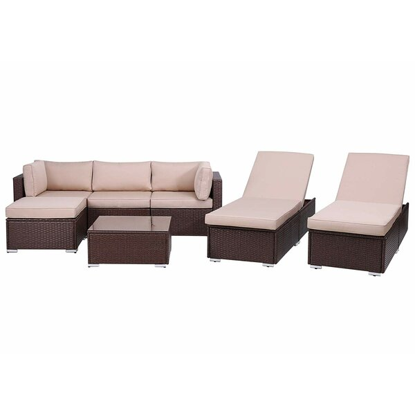 Su Outdoor 7 Piece Rattan Sectional Seating Group with Cushions by Latitude Run