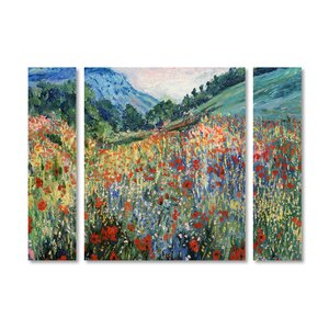 'Field of Wild Flowers' by Masters Fine Art 3 Piece Painting Print on Wrapped Canvas Set by Trademark Fine Art