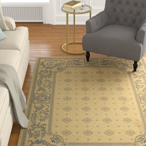 Carsen Natural/Blue Outdoor Rug by Astoria Grand