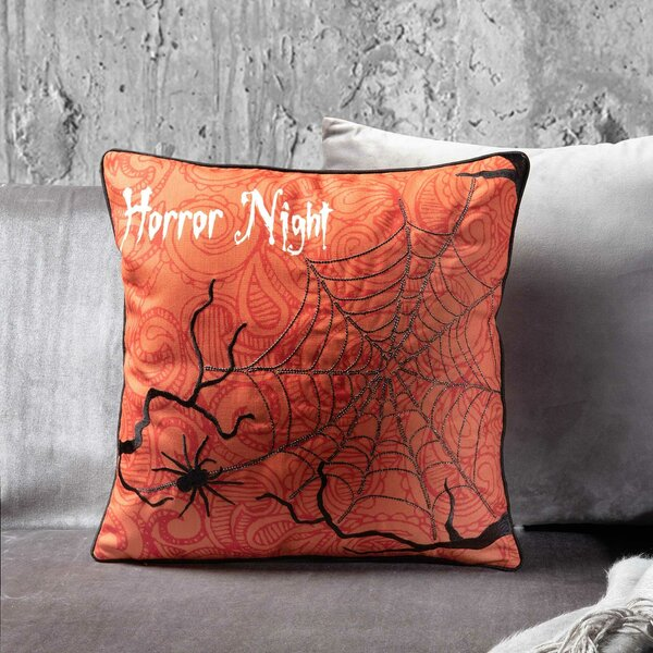 Horror Night halloween Throw Pillow by 14 Karat Home Inc.