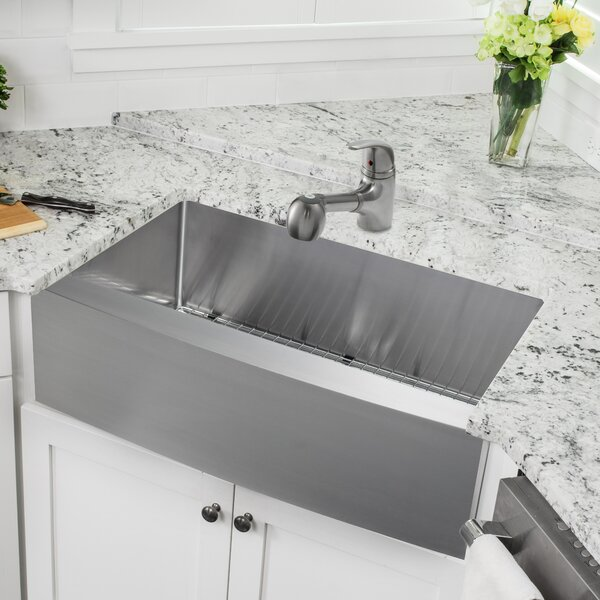 33 L x 21 W Double Basin Farmhouse Kitchen Sink with Faucet and Soap Dispenser by Cahaba