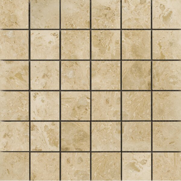 Natural Stone 2 x 2 Travertine Mosaic Tile in Pendio Beige by Emser Tile
