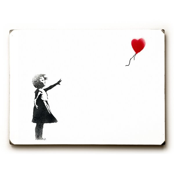 Girl Chasing Heart Painting Print on Wood by Wrought Studio