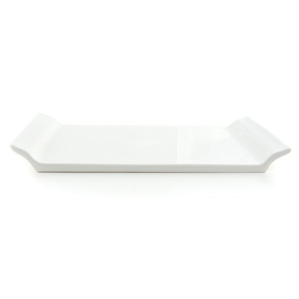 White Tie Porcelain Serving Tray with Handles by Tannex