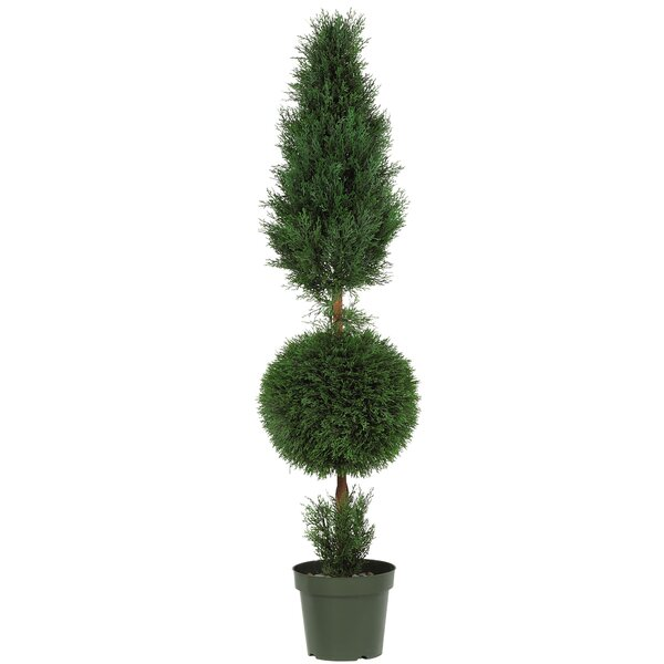 Cypress Ball and Cone Round Tapered Topiary in Pot by Nearly Natural