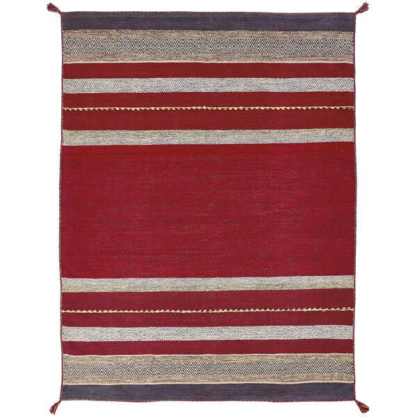 Gueye Hand Knotted Cotton Red Area Rug by Bloomsbury Market