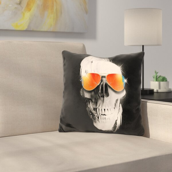 Skull Throw Pillow by East Urban Home