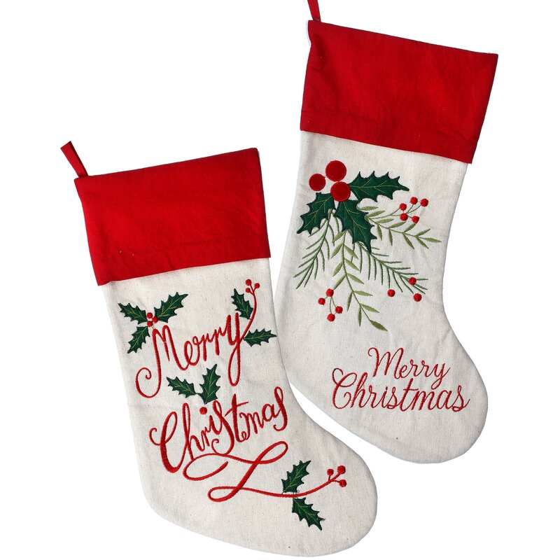 2 piece embroidered merry christmas stocking set