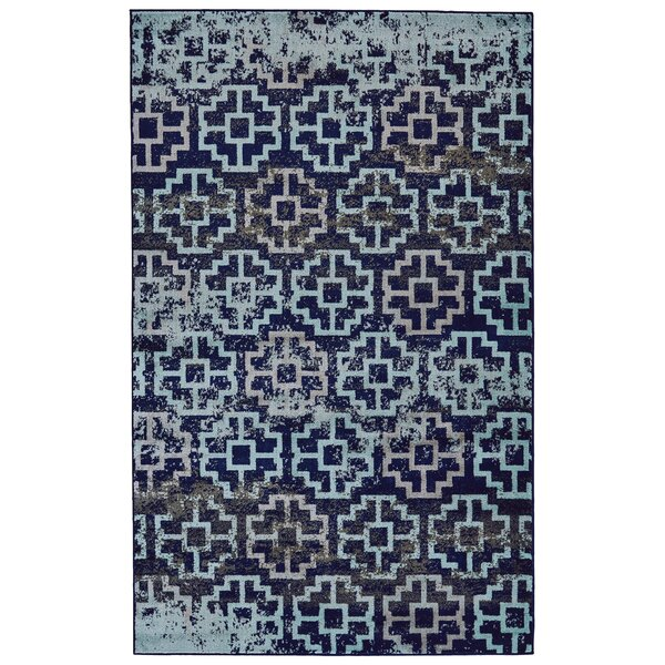 Knuth Aqua/Navy Area Rug by Winston Porter