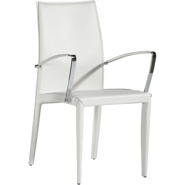 Sagitta Genuine Leather Upholstered Dining Chair (Set of 2) by Orren Ellis