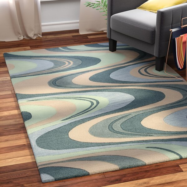 Randolph Hand-Tufted Beige/Seafoam Waves Area Rug by Ebern Designs