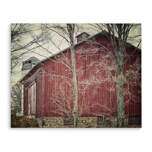 'Red Barn' Photographic Print on Wrapped Canvas by August Grove