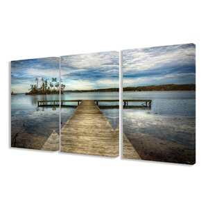Dock Overlooking Island 3 Piece Photographic Print Canvas Set by Stupell Industries