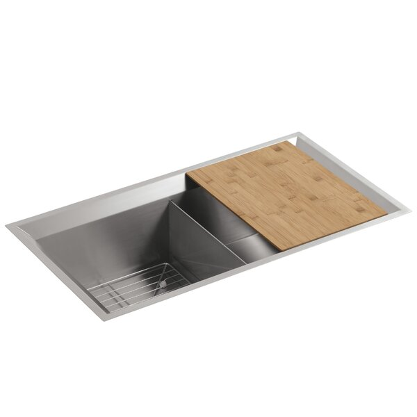 Poise 33 L x 18 W x 9-1/2 Under-Mount Double-Equal Bowl Kitchen Sink with Mirror Finished Rim, Includes Cutting Board and Bottom Bowl Rack by Kohler